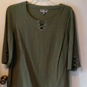 JM Collection Olive Green Top